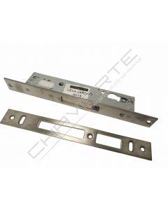 Fechadura de embutir alumínio Tesa 2210 só c/ trinco (c/ escudo de segurança E210), entrada 20mm, niquelado