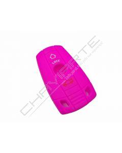 Capa silicone BMW, três botões, rosa