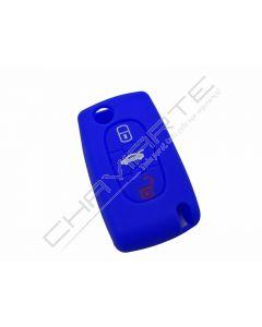Capa silicone Citröen, flip três botões, azul