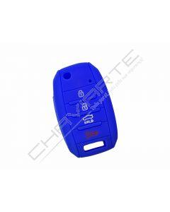 Capa silicone Kia, flip quatro botões, azul