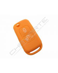 Capa silicone Mercedes, dois botões, laranja