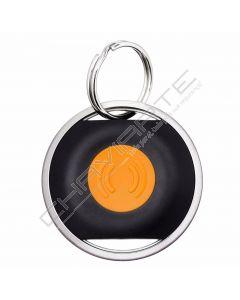 Buddy preto com botão laranja