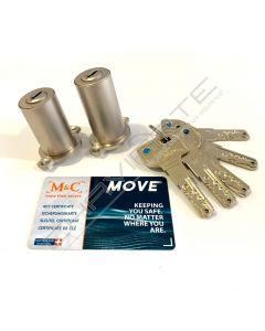 Cilindro M&C Move para Fichet duplo 42mm x 50mm niquelado