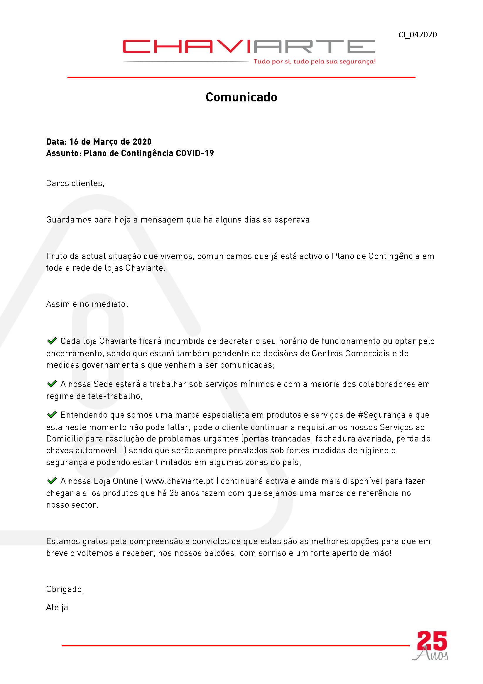 Comunicado: Plano de Contingência COVID-19